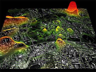 Распределение мобильных телефонов на фоне космоснимка города